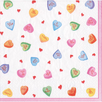 Caspari Candy Hearts - Cocktail Napkin
