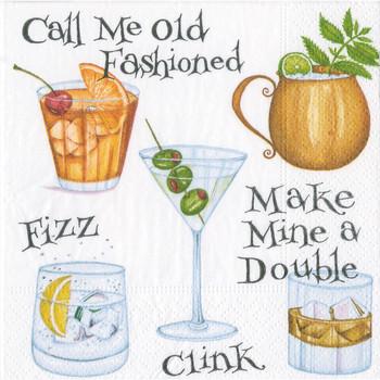 Caspari Cocktail Hour - Cocktail Napkin
