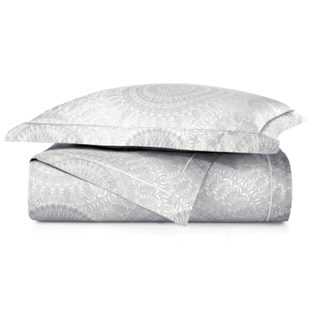 Peacock Alley Elise Duvet Cover - Platinum