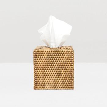 Pigeon & Poodle Dalton - Brown Rattan - Tissue Box