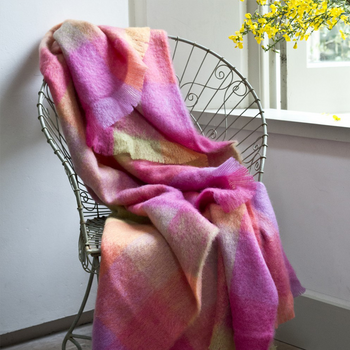 Avoca Pink & Yellow Lotus Mohair Throw
