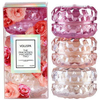 Voluspa Rose Collection Roses 3 Macaron Candle Giftset