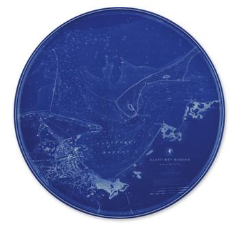 Caskata Chart Nantucket Blue Coupe Platter