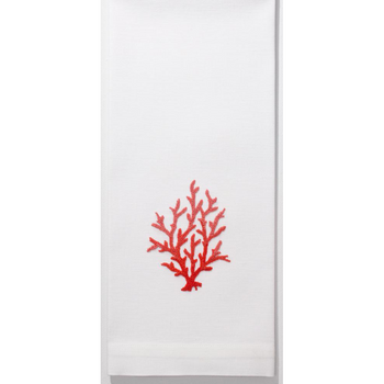 Henry Handwork Coral Knot Red Guest Towel