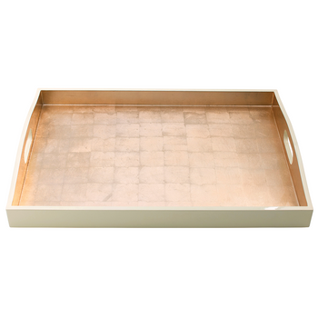 Caspari Gold with Ivory Rectangular Lacquer Tray