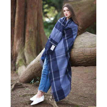 Avoca Cashmere Blend Navy Check Throw