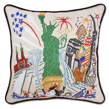 Catstudio Lady Liberty Hand-Embroidered Pillow