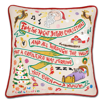 Catstudio Night Before Christmas Hand-Embroidered Pillow