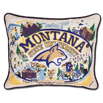 Catstudio Montana State University Collegiate Embroidered Pillow