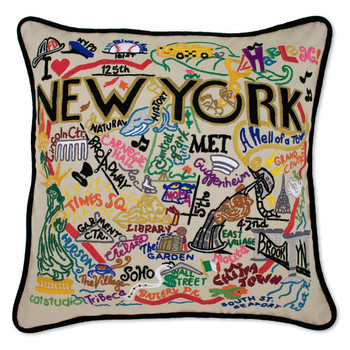 Catstudio New York City Hand-Embroidered Pillow