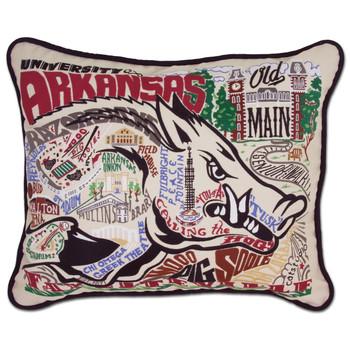Catstudio Arkansas University of Collegiate Embroidered Pillow