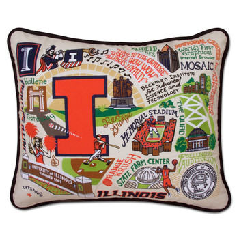 Catstudio Illinois University of Collegiate Embroidered Pillow
