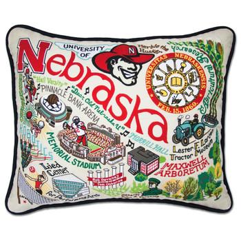 Catstudio Nebraska University of Collegiate Embroidered Pillow