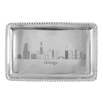 Mariposa Chicago Cityscape Beaded Buffet Tray