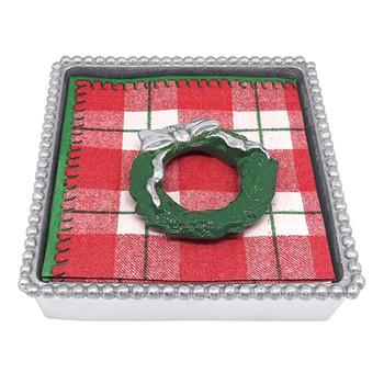 Mariposa Green Wreath Beaded Napkin Box