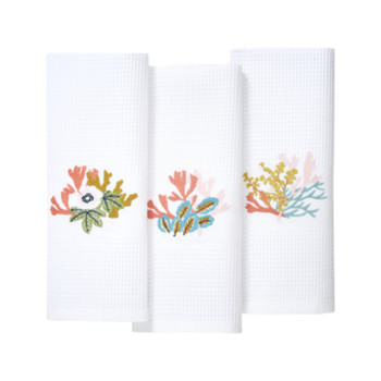 Yves Delorme Calypso 3 Embroidered Waffle Weave Fingertip Towels