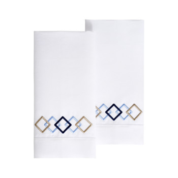 Yves Delorme Escale 2 Embroidered Cotton/Linen Fingertip Towels