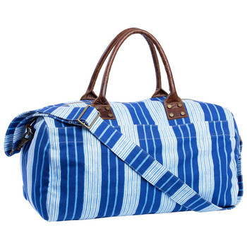 John Robshaw Vintage Stripe Printed Canvas Duffle Bag