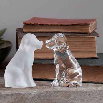 Simon Pearce Glass Frosted Dog in Gift box