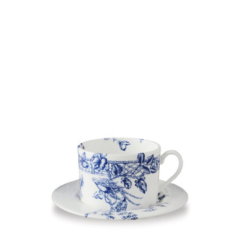 Caskata Chinoiserie Toile Blue Can Cup & Saucer