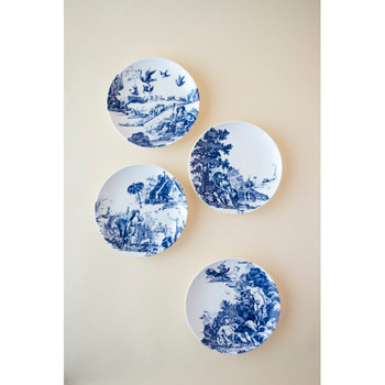 "Caskata Toile Tales 6.25"" Canapes - Set of 4"