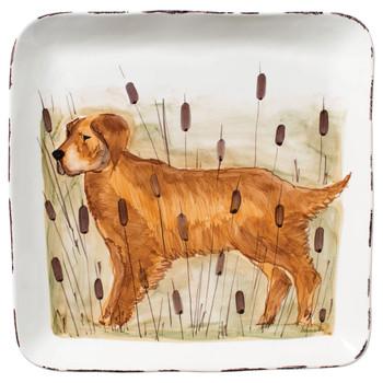 Vietri Wildlife Hunting Dog Large Square Platter
