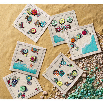 Kim Seybert Beach Day Cocktail Napkins - Set of 6