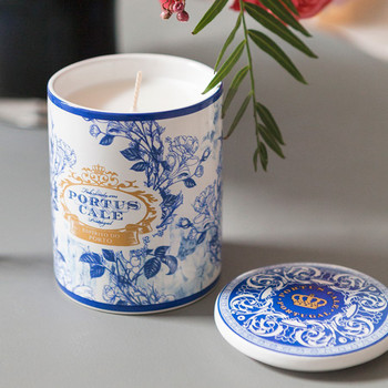Portus Cale Gold & Blue Candle