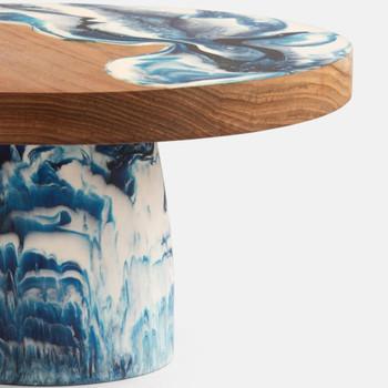 Blue Pheasant Austin Swirled Resin/Natural Teak Cake Stand Large