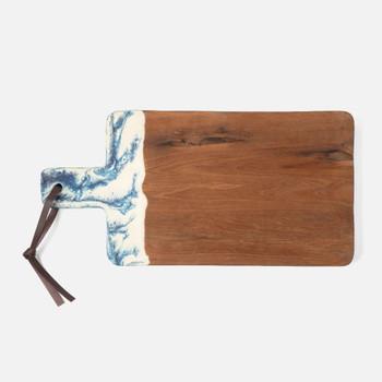 Blue Pheasant Austin Swirled Resin/Natural Teak Cutting Board