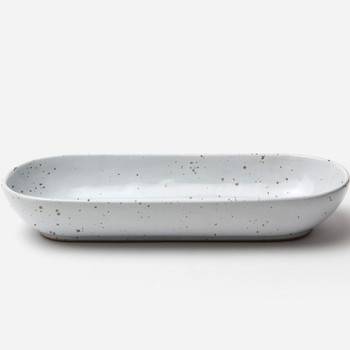 Blue Pheasant Marcus White Salt Glaze Oblong Serving Platter - Set of 2