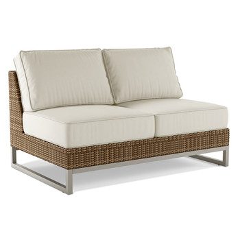 Palms Armless Loveseat  With White Cushion