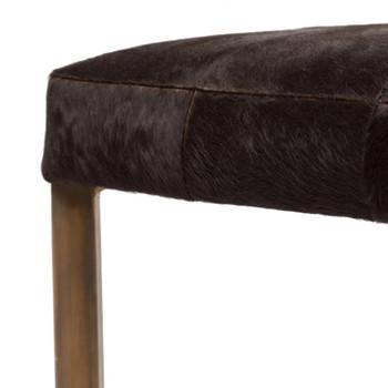 Made Goods, ROGER, Bench in Dark Brown Hair-on-Hide/Antique Brass Metal
