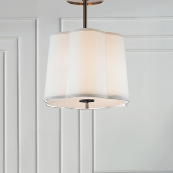 Visual Comfort Simple Scallop Large Hanging Silk Shade