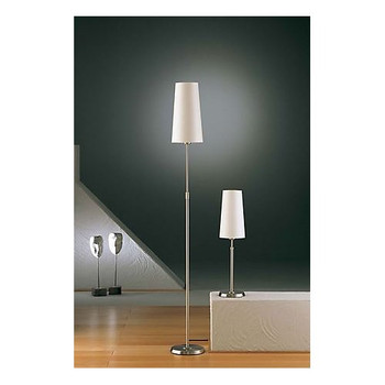 Holtkoetter Tall Adjustable Floor Lamp in Satin Nickel with Narrow Satin White Shade