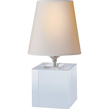 Thomas O'Brien Terri Cube Accent Lamp in Crystal with Natural Paper Shade