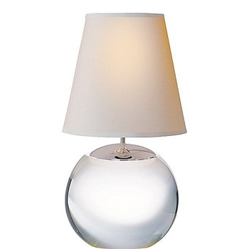 Thomas O'Brien Terri Large Round Table Lamp in Crystal with Natural Paper Shade