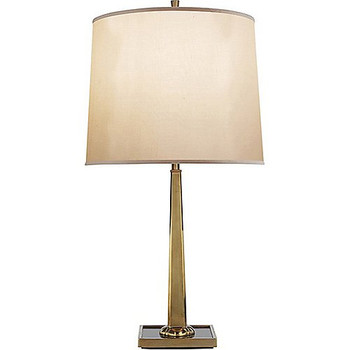 Barbara Barry Petal Desk Lamp in Soft Brass with Bronze Mirror Base and Silk Shade
