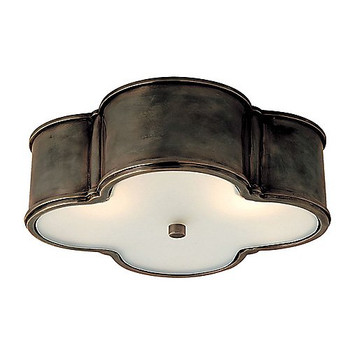 Visual Comfort Basil Large Flush Mount in Gun Metal with Frosted Glass