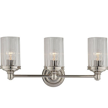 Visual Comfort Ava Triple Sconce in Polished Nickel with Crystal