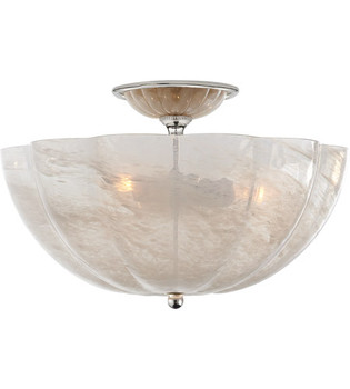 Aerin Rosehill Semi-Flush Visual Comfort  in Hand-Rubbed Antique Brass with White Stripe Glass