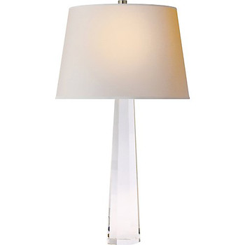 Visual Comfort Octagonal Spire Medium Table Lamp in Crystal with Natural Paper Shade