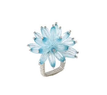 Kim Seybert Constellation Seafoam/Crystal Napkin Ring, Set of 4