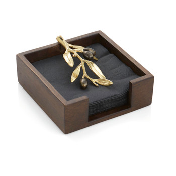Michael Aram Olive Branch Gold Cocktail Napkin Holder