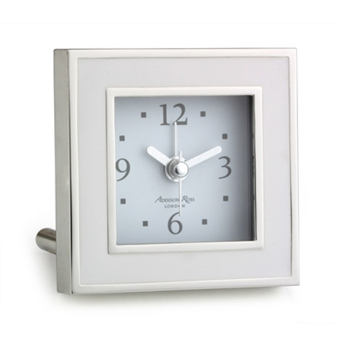 Addison Ross White Enamel Alarm Clock