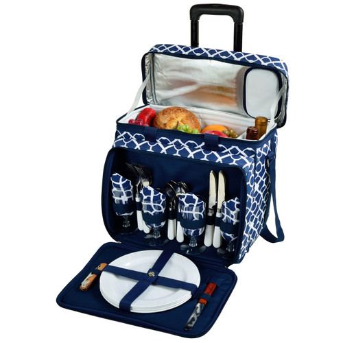 Picnic at Ascot Trellis Blue Picnic Cooler for 4 on Wheels