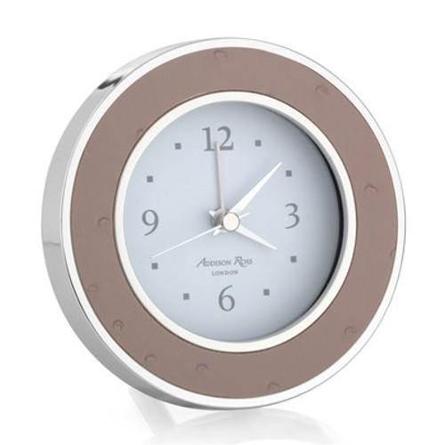 Addison Ross Faux Ostrich Blush Silver Alarm Clock