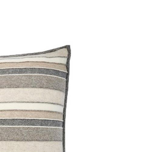 Rani Arabella Cashmere Stripes Pillow - Ivory/Beige - 21x21