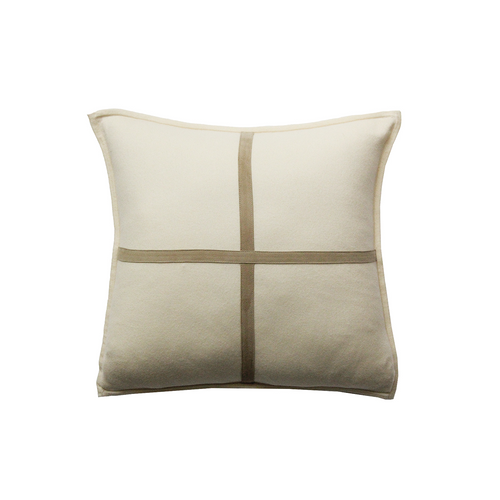 Rani Arabella Cashmere Pillow with Cross Suede - Ivory - 21x21