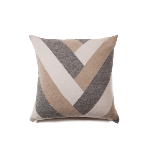 "Rani Arabella ""V"" Pillow - Sandy/Gray - 24x24"